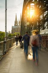 Hohenzollern Bridge at sunset with padlocks and cathedral- Stock Photo or Stock Video of rcfotostock | RC-Photo-Stock