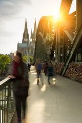 Hohenzollern bridge with love locks and cathedral in cologne- Stock Photo or Stock Video of rcfotostock | RC-Photo-Stock