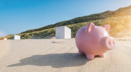 Holiday savings piggy bank on a beach : Stock Photo or Stock Video Download rcfotostock photos, images and assets rcfotostock   RC-Photo-Stock.: