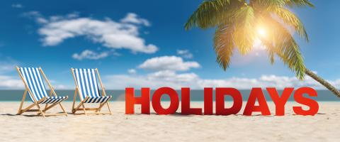 Holidays concept with slogan on the beach with deckchairs, Palm tree and blue sky- Stock Photo or Stock Video of rcfotostock | RC-Photo-Stock