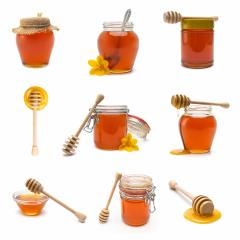 Honey pot and honey dipper set collage : Stock Photo or Stock Video Download rcfotostock photos, images and assets rcfotostock | RC-Photo-Stock.:
