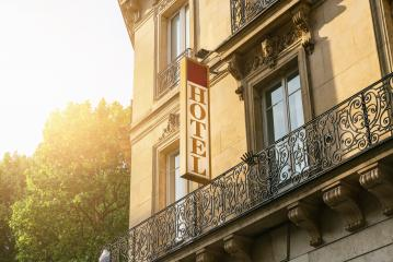 Hotel sign in Paris- Stock Photo or Stock Video of rcfotostock | RC-Photo-Stock
