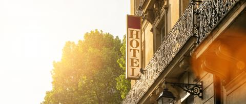 Hotel sign on a building, banner size : Stock Photo or Stock Video Download rcfotostock photos, images and assets rcfotostock | RC-Photo-Stock.: