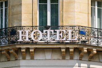 Hotel sign on wall- Stock Photo or Stock Video of rcfotostock | RC-Photo-Stock