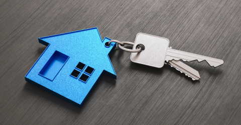 House as a pendant on a key on dark table as a house purchase and housing concept- Stock Photo or Stock Video of rcfotostock | RC-Photo-Stock