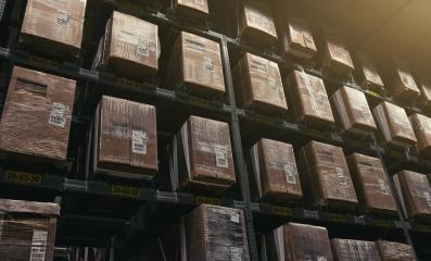 Huge distribution warehouse with boxes on high shelves : Stock Photo or Stock Video Download rcfotostock photos, images and assets rcfotostock | RC-Photo-Stock.: