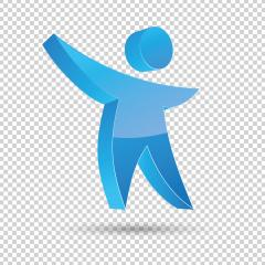 Human Figure Logo in blue glossy colors on checked transparent background. Vector illustration. Eps 10 vector file.- Stock Photo or Stock Video of rcfotostock | RC-Photo-Stock