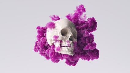 Human Skull side view with purple ink smoke cloud Pirate Poison Horror Symbol Halloween Medical. Abstract Anatomy and medicine concept image. : Stock Photo or Stock Video Download rcfotostock photos, images and assets rcfotostock   RC-Photo-Stock.: