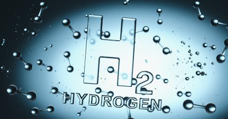Hydrogen H2 Symbol with hydrogen molecules floating in liquiq - clean energy concept image : Stock Photo or Stock Video Download rcfotostock photos, images and assets rcfotostock   RC-Photo-Stock.: