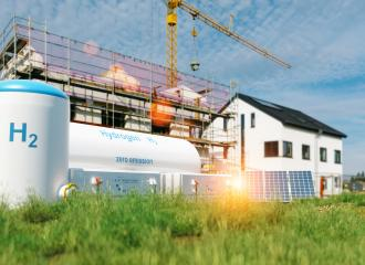 Hydrogen renewable energy production - hydrogen gas for clean electricity at real estate home : Stock Photo or Stock Video Download rcfotostock photos, images and assets rcfotostock | RC-Photo-Stock.: