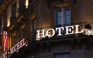 Illuminated hotel sign taken at dusk : Stock Photo or Stock Video Download rcfotostock photos, images and assets rcfotostock | RC-Photo-Stock.: