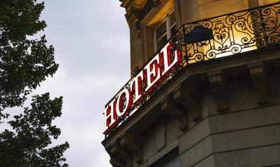 Illuminated hotel sign taken in Paris at sunset : Stock Photo or Stock Video Download rcfotostock photos, images and assets rcfotostock | RC-Photo-Stock.: