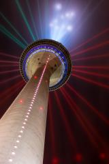 illuminated rhine tower in at night in dusseldorf, germany- Stock Photo or Stock Video of rcfotostock   RC-Photo-Stock