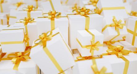 Infinite christmas gift boxes with golden bow : Stock Photo or Stock Video Download rcfotostock photos, images and assets rcfotostock | RC-Photo-Stock.: