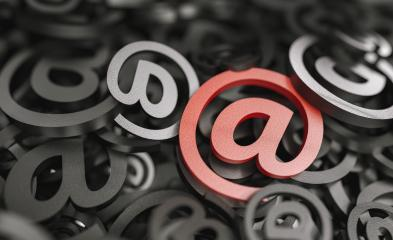 Infinite Email signw with big blue at sign, marketingm, spam and newsletter concept image- Stock Photo or Stock Video of rcfotostock | RC-Photo-Stock