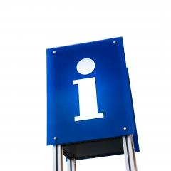 information signboard blue shield on white- Stock Photo or Stock Video of rcfotostock | RC-Photo-Stock