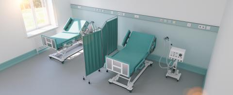 Intensive care bed with ventilator for Covid-19 patient in clinic with coronavirus epidemic - Stock Photo or Stock Video of rcfotostock | RC-Photo-Stock