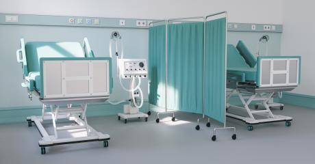Intensive care bed with ventilator for Covid-19 patient in clinic with coronavirus epidemic- Stock Photo or Stock Video of rcfotostock | RC-Photo-Stock