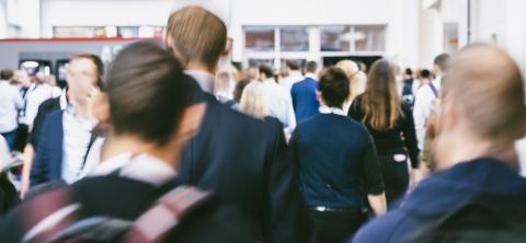International anonymous crowd at trade fair - Defocused photo- Stock Photo or Stock Video of rcfotostock | RC-Photo-Stock