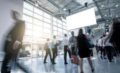 International modern trade fair hall with Blurred people- Stock Photo or Stock Video of rcfotostock | RC-Photo-Stock
