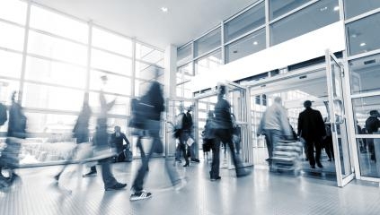 International Trade Fair entrance with Blurred people- Stock Photo or Stock Video of rcfotostock | RC-Photo-Stock