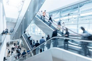 International trade fair staircase with blurred people- Stock Photo or Stock Video of rcfotostock | RC-Photo-Stock