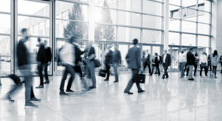International Trade Fair visitors walking at a modern floor- Stock Photo or Stock Video of rcfotostock | RC-Photo-Stock