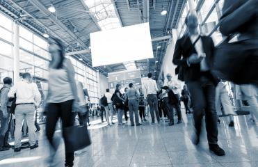 International trade fair with blurred people Walking in a lobby- Stock Photo or Stock Video of rcfotostock | RC-Photo-Stock