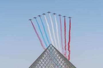 Jet aircrafts aerobatic group of French Air Force drawing french flag figure in the sky- Stock Photo or Stock Video of rcfotostock | RC-Photo-Stock