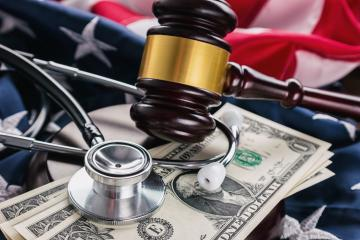 Judges Gavel And Medical Stethoscope on america flag- Stock Photo or Stock Video of rcfotostock | RC-Photo-Stock