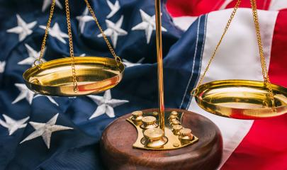 Justicce scale with America flag - law concept image : Stock Photo or Stock Video Download rcfotostock photos, images and assets rcfotostock | RC-Photo-Stock.: