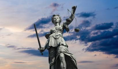 Justitia lady  statue with cloudy sunset sky : Stock Photo or Stock Video Download rcfotostock photos, images and assets rcfotostock | RC-Photo-Stock.: