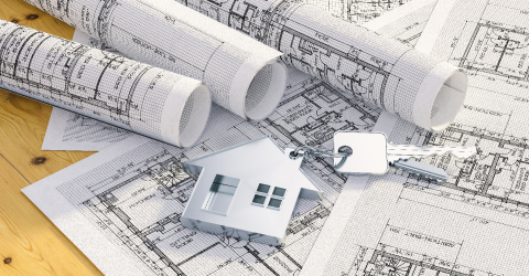 Keys with house and achitectural plans, house building concept image- Stock Photo or Stock Video of rcfotostock | RC-Photo-Stock