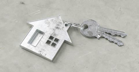 Keys with house shaped keychain on a Keys with house shaped keychain on a concrete ground floor as a house purchase and housing concept- Stock Photo or Stock Video of rcfotostock | RC-Photo-Stock