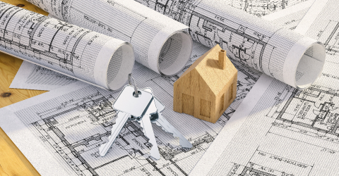 Keys with toy house and architectural plans- Stock Photo or Stock Video of rcfotostock | RC-Photo-Stock