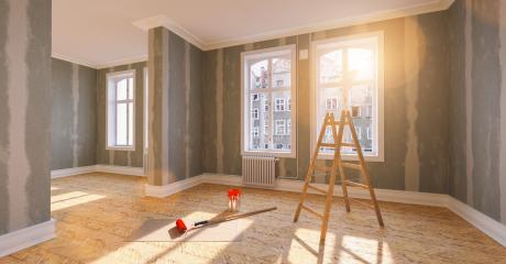 Ladder and bucket of paint in old building apartment during renovation after moving and Flattened drywall walls : Stock Photo or Stock Video Download rcfotostock photos, images and assets rcfotostock | RC-Photo-Stock.: