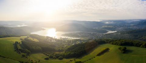 Lake Rursee at sunrise, Eifel Germany- Stock Photo or Stock Video of rcfotostock | RC-Photo-Stock