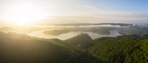 Lake Rursee in the Eifel National Park at the morning- Stock Photo or Stock Video of rcfotostock | RC-Photo-Stock