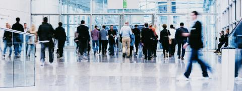 large crowd of anonymous blurred business people at a trade fair- Stock Photo or Stock Video of rcfotostock | RC-Photo-Stock