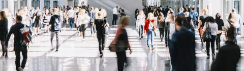 large crowd of anonymous blurred people at a trade fair- Stock Photo or Stock Video of rcfotostock   RC-Photo-Stock