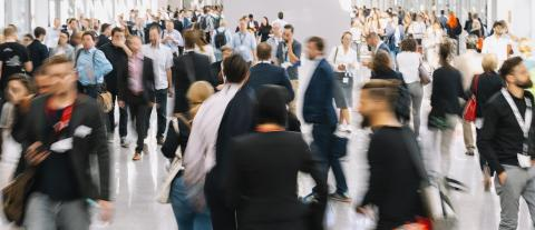 large crowd of anonymous blurred people at a trade fair- Stock Photo or Stock Video of rcfotostock | RC-Photo-Stock