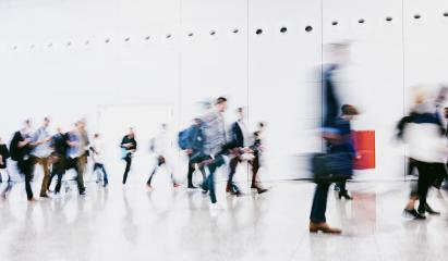 large crowd of anonymous blurred people at a trade show- Stock Photo or Stock Video of rcfotostock | RC-Photo-Stock