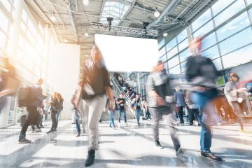 large crowd of anonymous blurred people rushing in a modern hall- Stock Photo or Stock Video of rcfotostock   RC-Photo-Stock