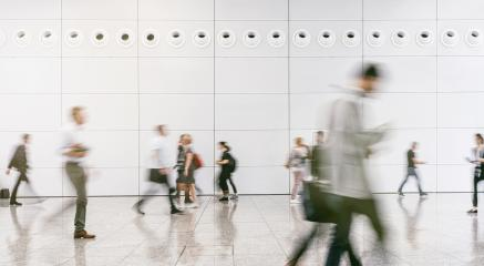 large crowd of anonymous blurred people walking in a modern hall- Stock Photo or Stock Video of rcfotostock | RC-Photo-Stock