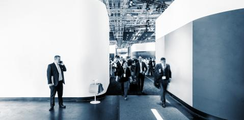 large crowd of anonymous people at a trade fair in london, with banner and copy space for individual text- Stock Photo or Stock Video of rcfotostock | RC-Photo-Stock