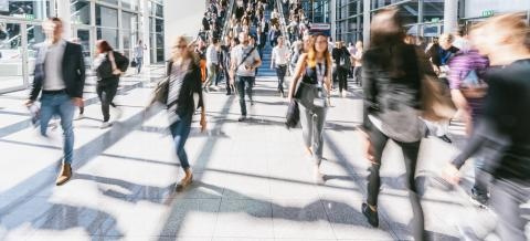 large Crowd of anonymous people walking at the trade show- Stock Photo or Stock Video of rcfotostock | RC-Photo-Stock