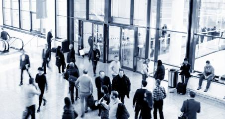large crowd of blurred business people rushing at a airport- Stock Photo or Stock Video of rcfotostock | RC-Photo-Stock
