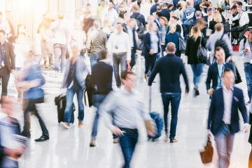 Large crowd of Blurred people at a trade fair floor- Stock Photo or Stock Video of rcfotostock | RC-Photo-Stock
