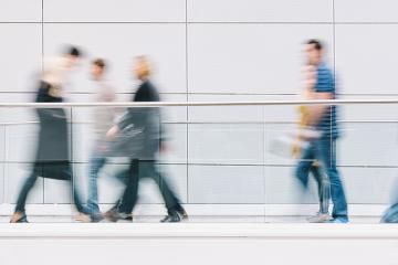 large crowd of people walking in a clean futuristic corridor- Stock Photo or Stock Video of rcfotostock | RC-Photo-Stock