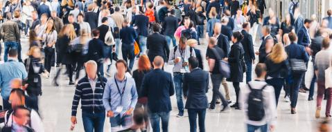 large crowd of unrecognizable business people rushing in a modern trade fair hall - Stock Photo or Stock Video of rcfotostock | RC-Photo-Stock